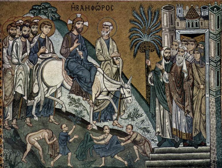 Jézus bevonulása Jeruzsálembe, a palermói Capella Palatina mozaikján