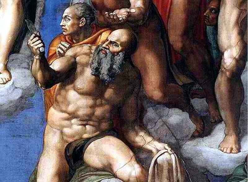 Michelangelo: Utolsó ítélet – Nátánáél (Szent Bertalan)