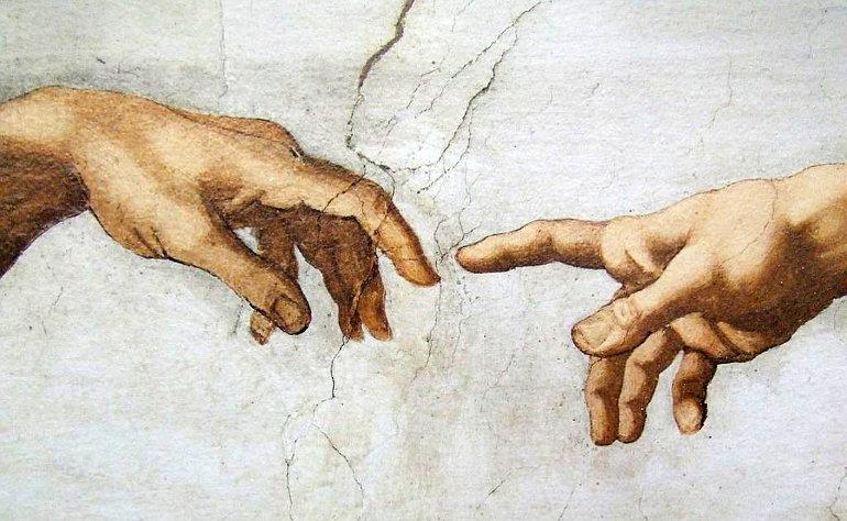 Isten és Ádám keze Michelangelo: Ádám teremtése freskóján